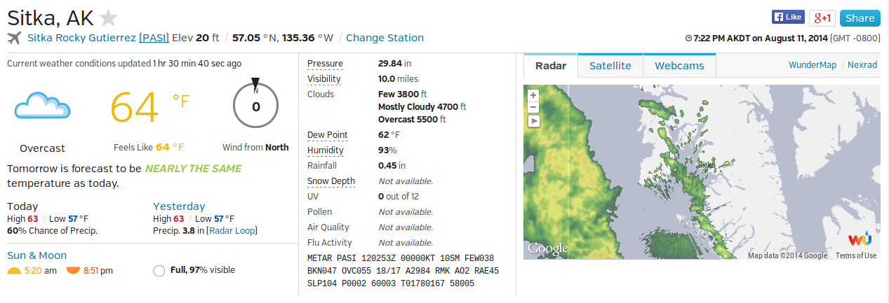 A screen capture of the Weather Underground page for Sitka shows the weather conditions on the evening of 11 August 2014. The radar image at right shows more rain coming.